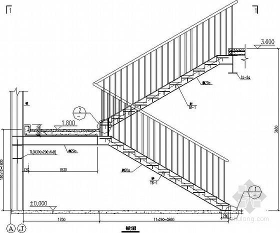 直跑钢楼梯节点构造详图