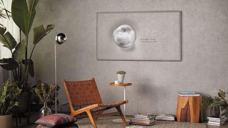有了三星的隐形电视, 再也不需要电视背景墙了!