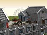 商业街中式风格三层建筑方案设计(SU模型)