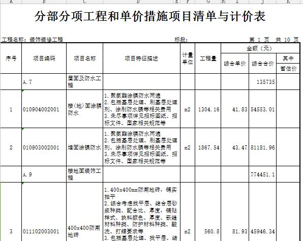 【广东】十层业基地项目公共空间(地下3层)装修工程预算书(图纸)_3