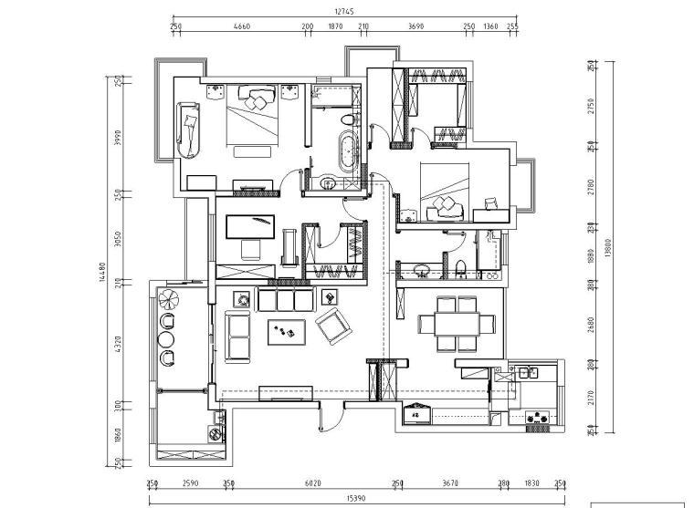 欧式风格阳光国际样板房详细施工图设计-给水图