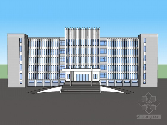 简洁办公建筑SketchUp模型下载-简洁办公建筑