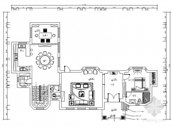 [南昌]城心低密别墅住区中欧混搭三层豪宅装修设计施工图(含效果)图片