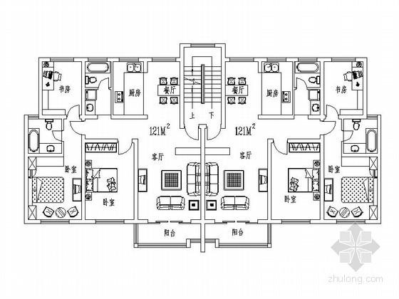 6层住宅一梯两户户型图(121平方米)