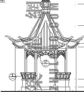 木结构六角亭结施图