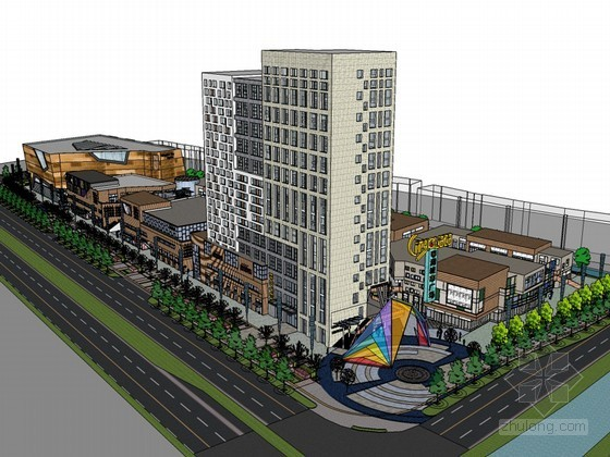 城市商业广场SketchUp模型下载