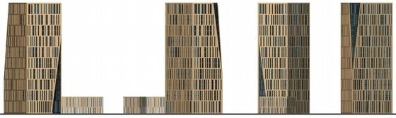 [重庆]围合式空间城市综合体规划设计方案文本(设计精彩推荐参考)-围合式空间城市综合体规划立面图