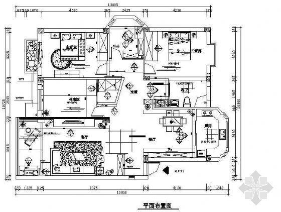 三室二厅带电气加效果图
