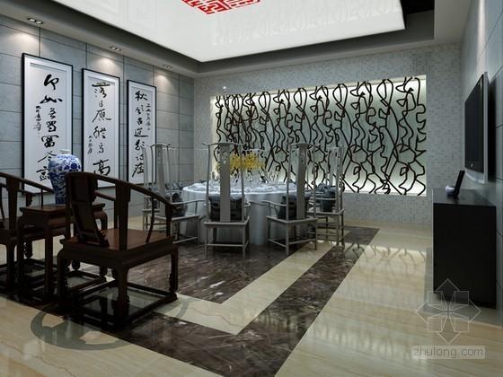 现代中式餐厅包厢3d模型下载