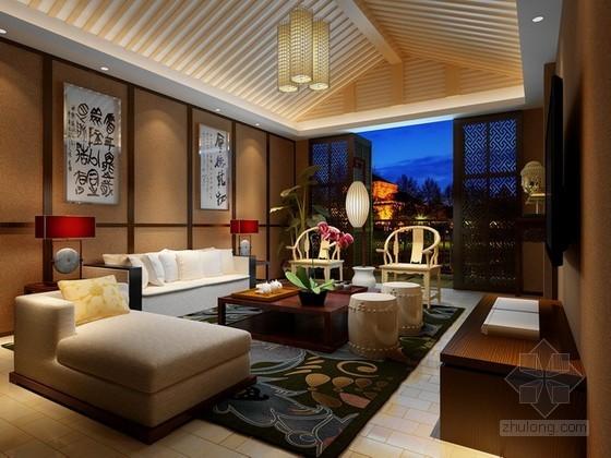 舒适中式风格客厅3d模型下载