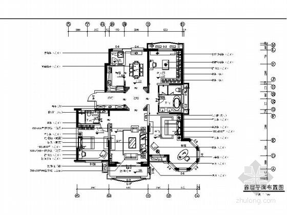 [天津]大型地产设计院设计欧式精装样板房施工图(含两户型)