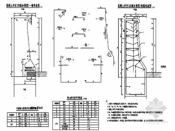 SS级加强型钢筋混凝土护栏设计图