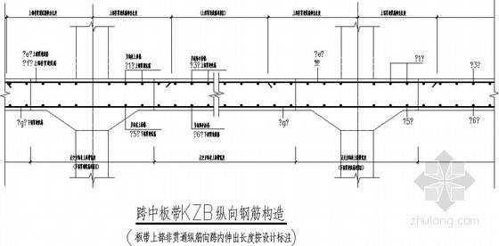 无梁楼盖板带纵向钢筋构造节点详图
