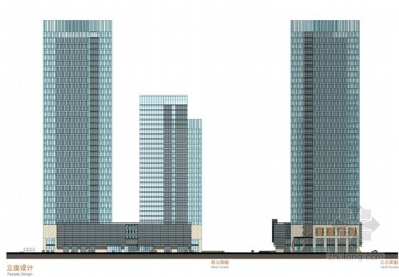 现代风格超高层办公楼设计方案立面图