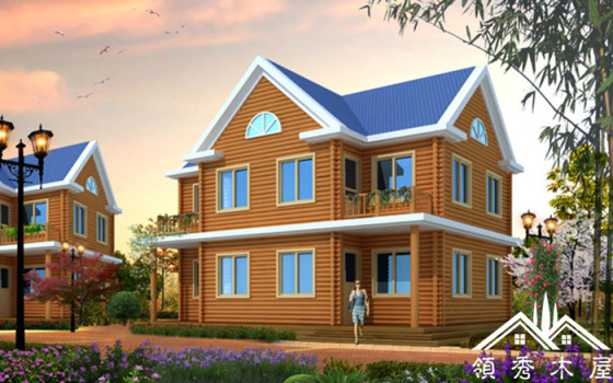 领秀木屋lx-03sa100平米木别墅防腐木材料建筑的木屋