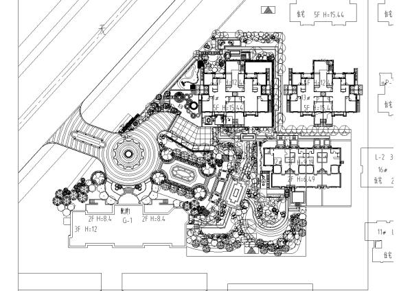 [天津]滨海环境示范区别墅景观设计施工图-v环境湾畔别墅纯大洋盐城5600元图片