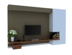 新美式电视墙3D模型下载