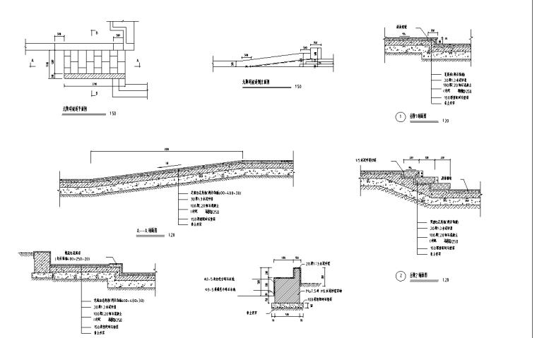 某江滨北路景观绿地全套施工图-台阶,花池详图