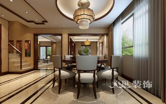 0别墅户型——餐厅效果图德宝方顶4室3厅3卫装修样板间新中式风格