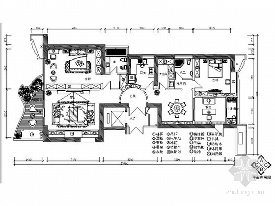 [福建]沉稳典雅新中式风格三居室室内装修施工图(含效果)