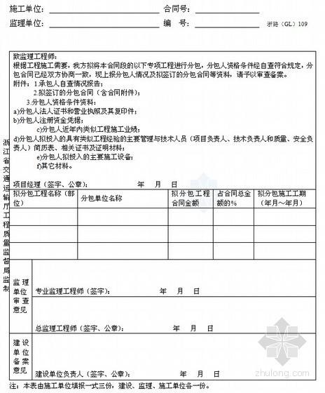 [浙江]超全公路工程施工监理统一用表(360页)-分包合同审查备案表