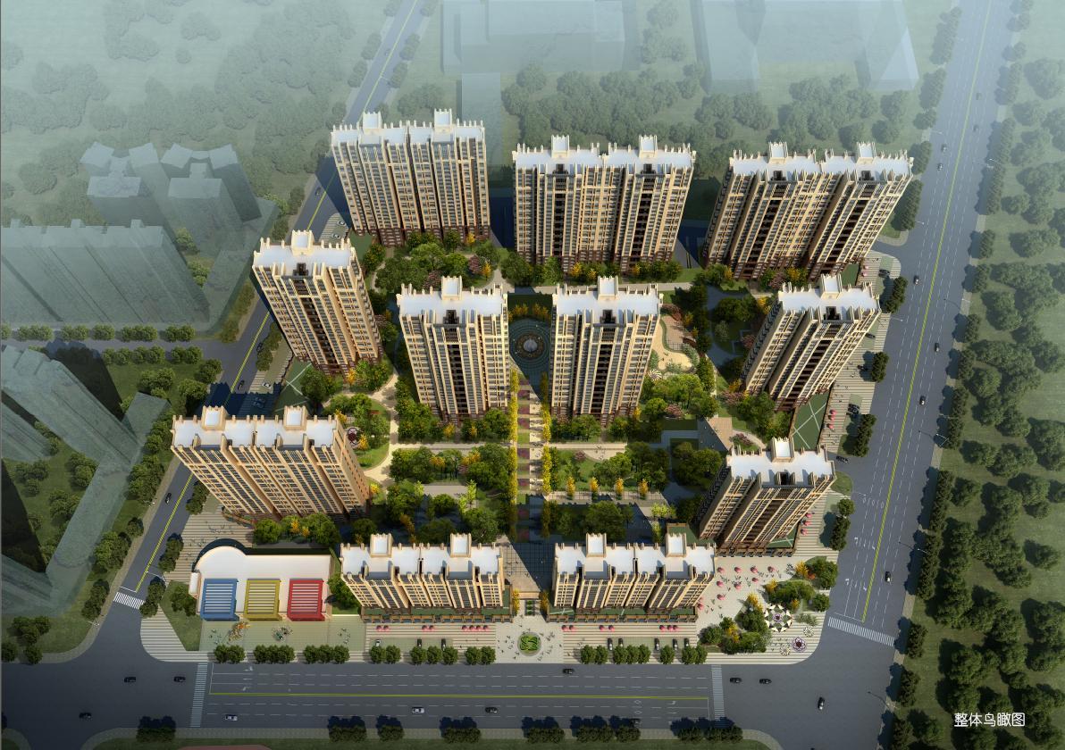 高层现代artdeco风格塔式住宅楼建筑效果图