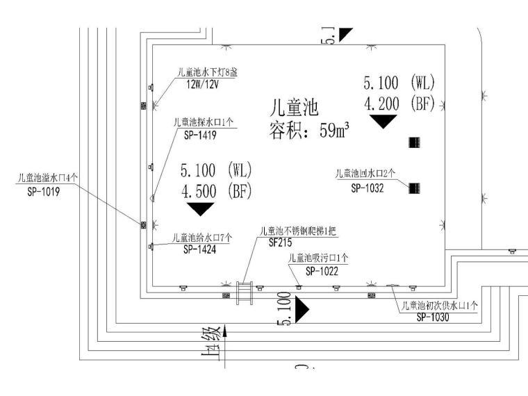 [广州]成人和儿童泳池水处理及电气设计详细设备图(方案新颖)