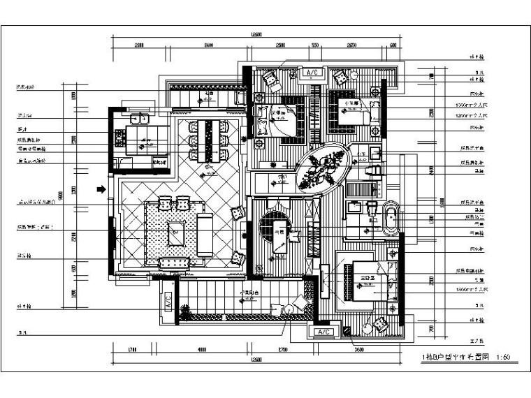 [深圳]简约欧式三居室设计施工图(含效果图)
