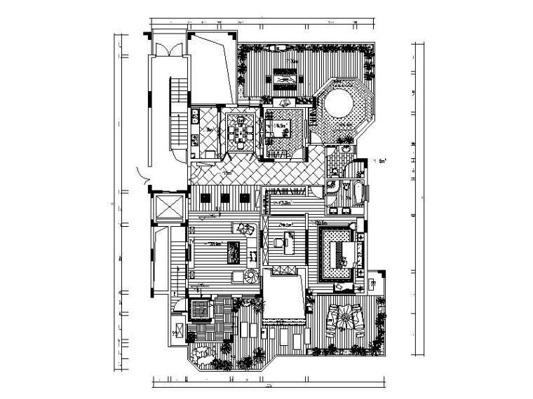 东南亚风格的别墅设计施工图(含效果图)