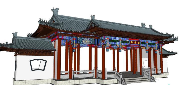 中式大门设计模型