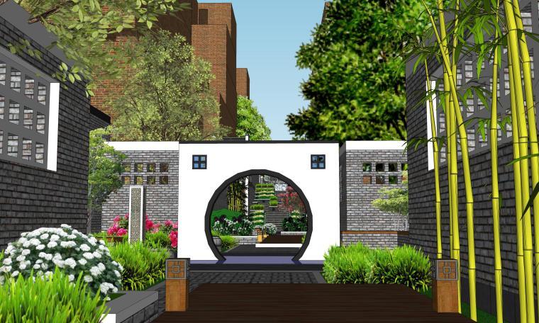 中式巷子景观SU模型——月亮门