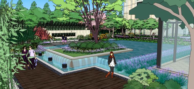 新中式庭院宅间景观su模型
