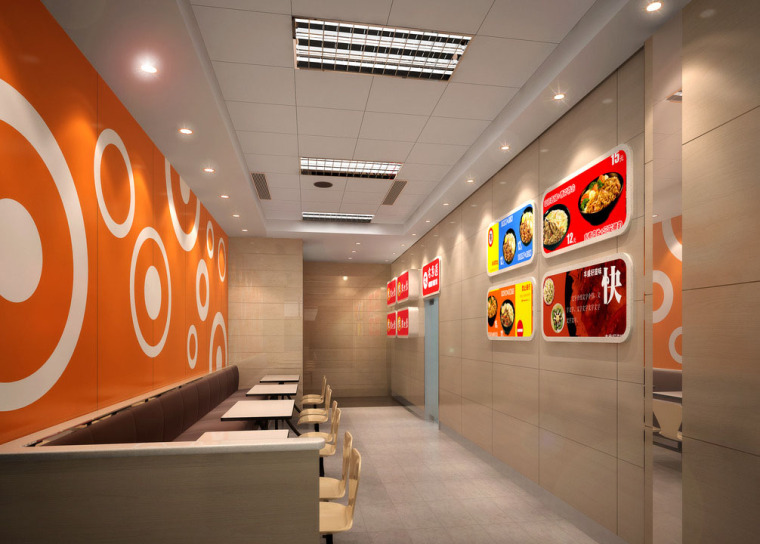 快餐厅设计案例效果图(本人设计作品)