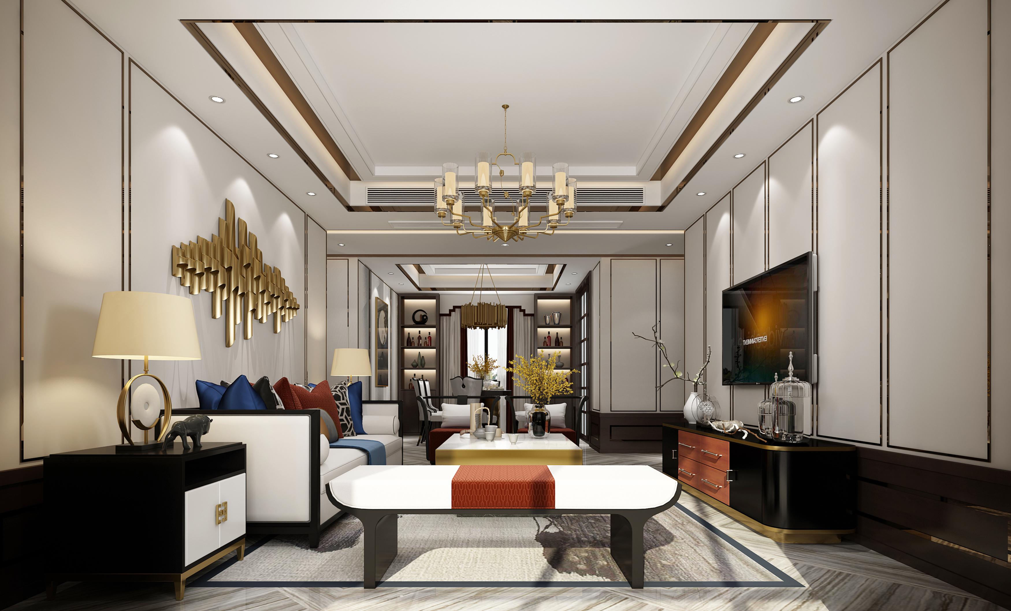3d效果图_现代风格住宅客厅设计3d模型(附效果图)