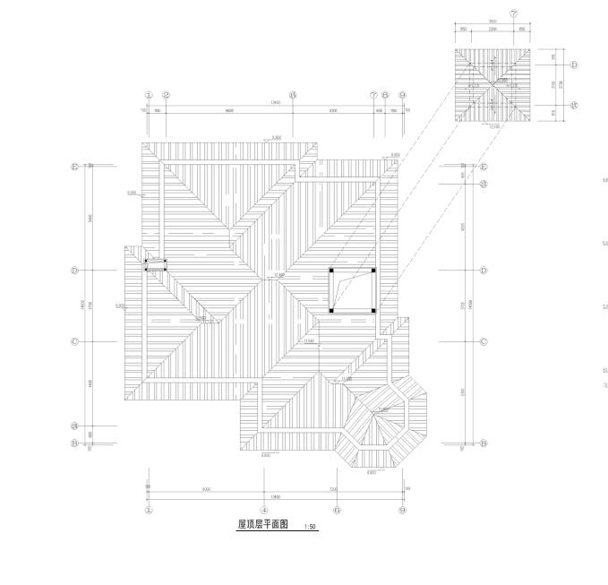 三层典雅式石材外墙独栋住宅建筑平面图