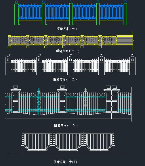 围墙铁艺栏杆方案CAD图_5