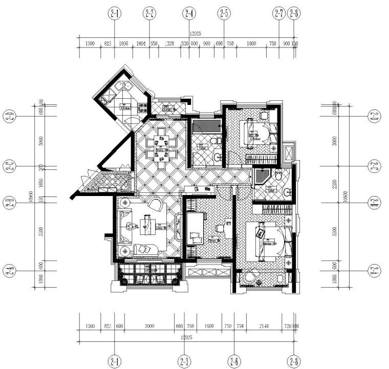 新古典主义风格住宅施工图设计(附效果图)