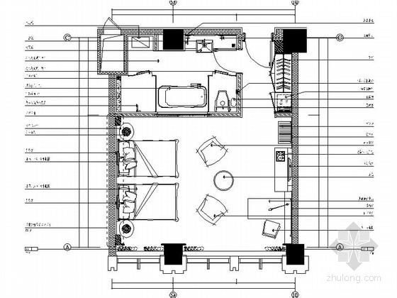 [辽宁]工业园办公楼标准双人房装修施工图