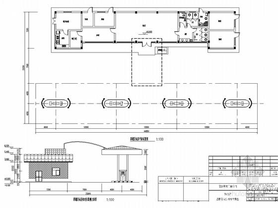 [长沙]一层框架结构加油站站房结构施工图(含建筑图钢框架罩棚)-罩棚及站房相对位置图