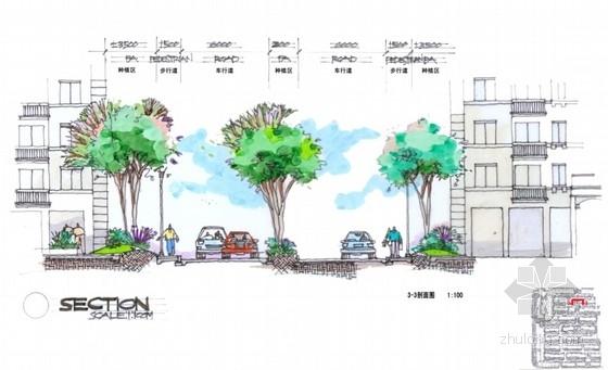 [江苏]新中式老街景观方案设计文本-剖面图