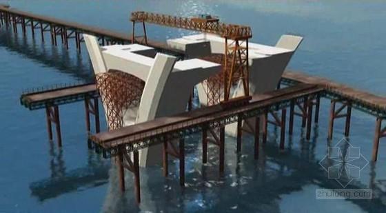 连续刚拱桥结构跨江大桥施工动画演示