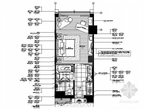 [湖南]国际连锁酒店标准大床房施工图(图纸详细)