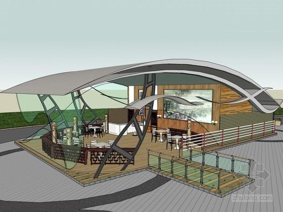 休闲滨水茶室SketchUp模型下载