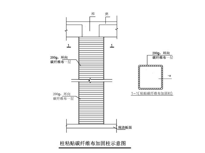 柱粘贴碳纤维布加固施工图