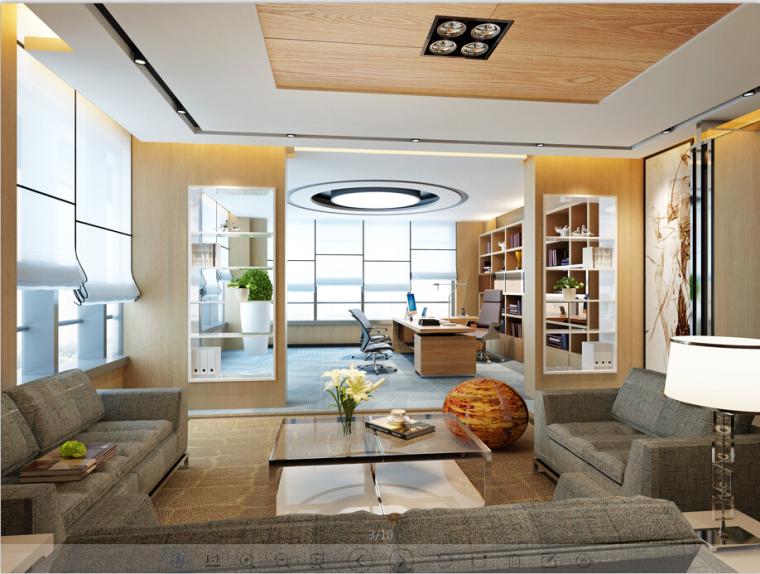 现代简约交易中心办公空间设计方案效果图(含3D模型)