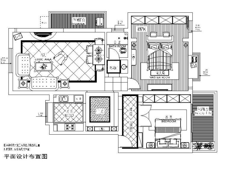 地中海风格的两居室设计施工图(含实景图)