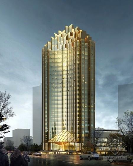 [西宁]超高层框架剪力墙结构五星级酒店建筑设计方案文本(土豪金表皮)-超高层框架剪力墙结构五星级酒店效果图