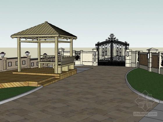 别墅和院子景观设计sketchup模型