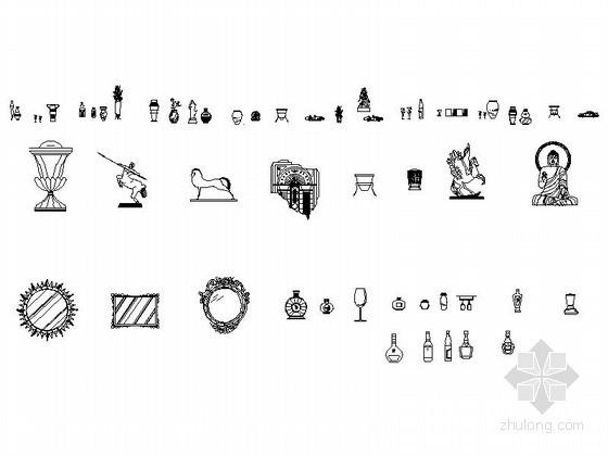 各式工艺品立面图CAD图块下载