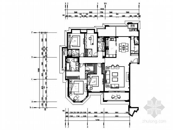 [广东]欧式古典风格样板房室内装修CAD施工图(含效果)